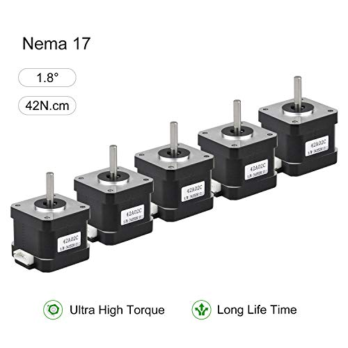 RTELLIGENT Nema 17 Stepper Motor, 5PCS 2 Phase Step Motor Bipolar 1.5A 59.5oz.in(42Ncm) 42x42x38mm 4-wire 30cm Long Cable for 3D Printer (42A02C-XH2.54, 5)