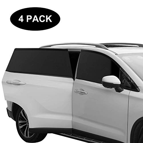 AURSINC Car Side Window Sun Shade, Breathable Mesh Sun Shield with Sunlight Protection Reduce Cold Wind Fit for Cars and SUVs -4 Packs