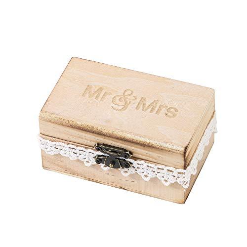 FiedFikt Ringbox für Hochzeitsringe, Ringhalter, Holz, Retro-Schmuckschatulle, Schmuck-Organizer, Hochzeitszubehör, Hochzeitsdekoration (C)