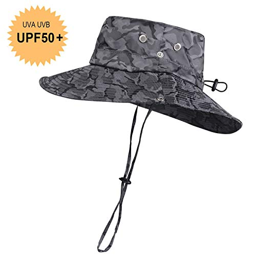 KOOLSOLY Breathable Wide Brim Boonie Hat Outdoor Waterproof UPF 50+ Sun Protection Mesh Safari Sun hat for Travel Fishing Camouflage