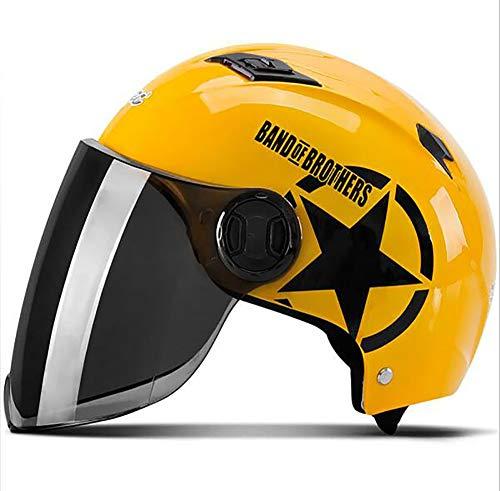XTGFDC Sommer Atmungsaktiv Motorradhelm, Universalgröße Damen Und Herren Jet-Helm Scooter-Helm ECE Genehmigt, Rot, Gelb, Blau, Mattschwarz (56-62Cm),Yellow