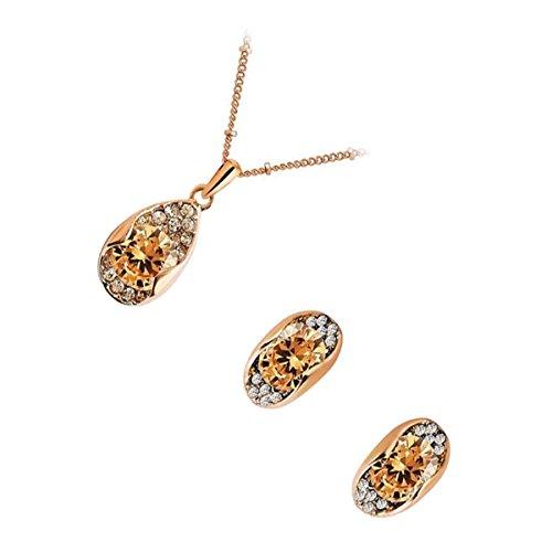 UPCO Jewellery Conjunto Collar y Pendientes Tipo Cierre a presión con una Piedra Principal Redonda champaña rodeada con Cristales bañados en Oro Rosado 18 K