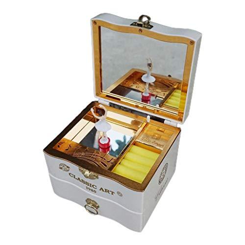 Gulang-keng Caja de música para piano con rotación romántica y creativa, caja de joyería antigua para regalo de cumpleaños, juguete para decoración del hogar, 2 colores opcionales