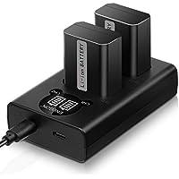ENEGON NP-FW50 Batería de Repuesto (Paquete de 2) y Smart LED Cargador Dual USB para Sony NEX 3/5/7 Series, SLT-A Series, Alpha a3000, a5000, a5100, a55, a6000, a6300, a6400, a6500 y más