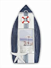 """CoTa Global Blue Stripes Boat 3.5"""" x 5"""" Photo Frame Nautical Handcrafted Wooden Picture Holder Easel Back Speed Boat Yacht Cruise Ship Novelty Frame Bright & Unique for Marine Ocean Beach Themed Rooms"""
