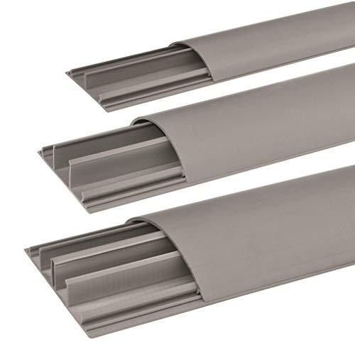 SCOS Smartcosat SCOSKK276 80 cm Habrund Kabelkanal (L x B x H 800 x 50 x 12 mm, PVC, Fußboden, Kanal, Selbstklebend) grau