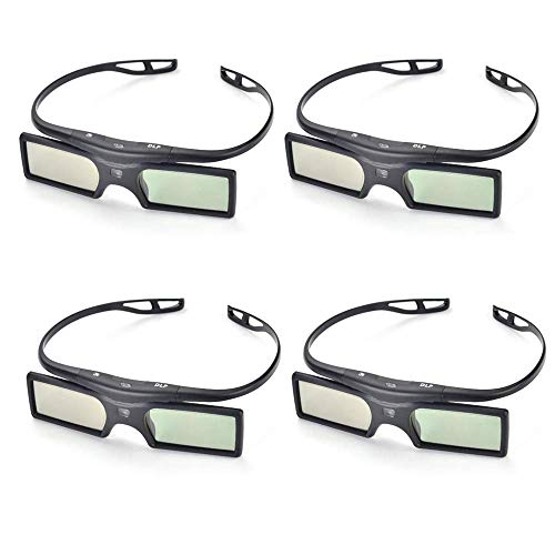 PERGEAR 4xG15-DLP 144Hz 3D DLP-Link Active Glasses for Optoma/BenQ/Acer/LG Projector
