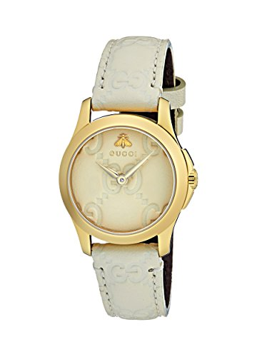 Gucci Damen Datum klassisch Quarz Uhr mit Leder Armband YA126580