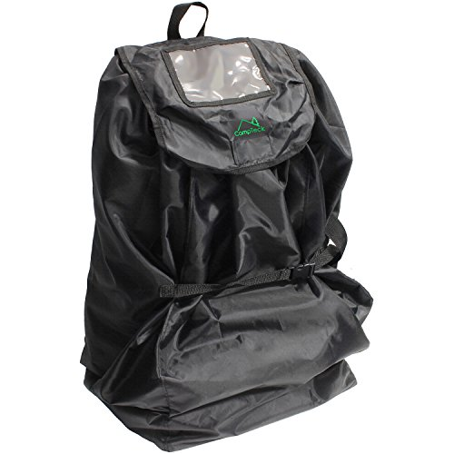 CampTeck U6854 Transporttasche Kindersitz mit Rucksackriemen (83 x 43cm) wasserabweisendes Polyester mit zugehöriger Aufbewahrungshülle und Namenschildfenster - Schwarz
