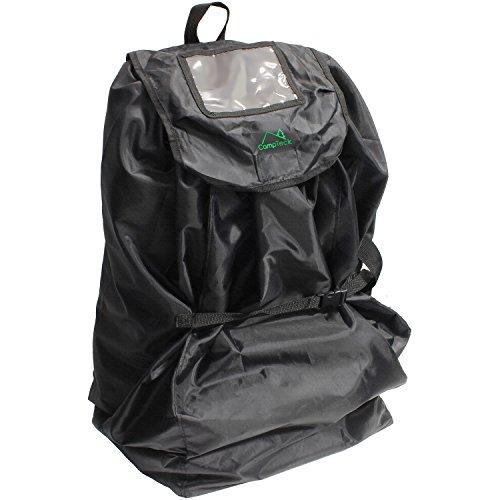 CampTeck U6854 Transporttasche Kindersitz mit Rucksackriemen (83 x 43cm) wasserabweisendes Polyester mit zugehöriger Aufbewahrungshülle und Namenschildfenster, Transit, Reisesicherheit - Schwarz