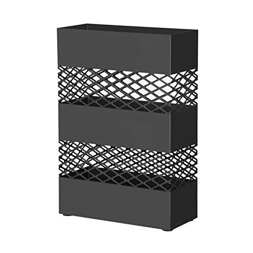 SONGMICS Metal Umbrella Stand, Rectangular Umbrella Holder Rack, with Removable Drip Tray, Lattice Cutouts, Black ULUC02BK