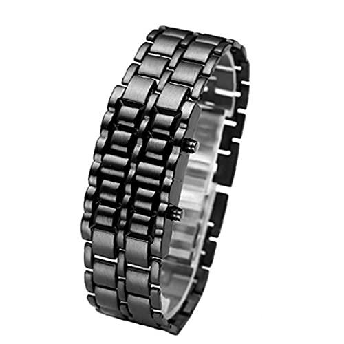 Liadance Reloj LED Unisex Pulsera de Reloj anónimo Digital con Lava del Hierro del Metal del Samurai del brazal se Divierte Reloj Incorporado de Pulsera/Azul LED de la batería