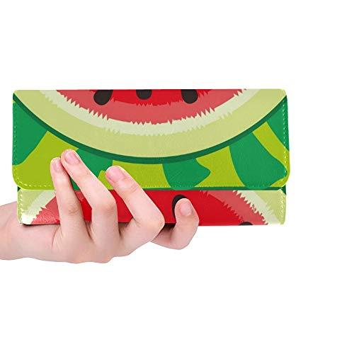 Einzigartige benutzerdefinierte Wassermelone Stoff Schals Souvenir Frauen Trifold Wallet Lange Geldbörse Kreditkarteninhaber Fall Handtasche