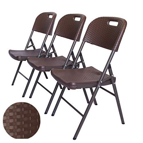TRUTZHOLM Klappstuhl bis 150 kg in Rattan Optik Gartenstuhl im 3er Set Rattan Holzoptik - Stuhl für Garten Balkon Terasse Campingstuhl