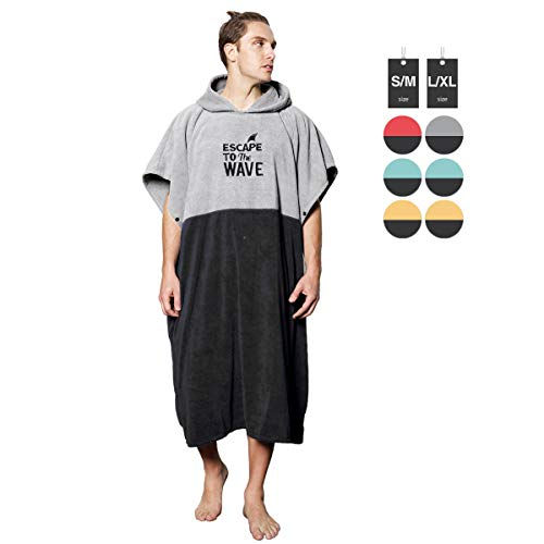 Vulken Extra Large Thick Hooded Beach Towel Changing Robe. Surf Poncho Men for Easy Change in Public. Quick Dry Microfiber Towelling for The Beach, Pool, Lake, Water Park. L/XL