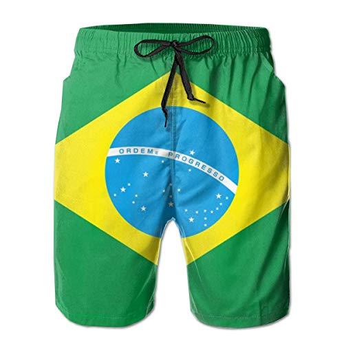 tyui7 Herren brasilianische Flagge grün Bedruckte lustige Badehose Quick Dry Beachwear Sport Running Swim Board Shorts