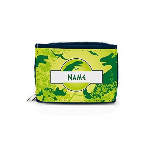 Striefchen® Geldbörse für Kinder mit Dinosaurier und eigenem Namensaufdruck mit Geschenkverpackung