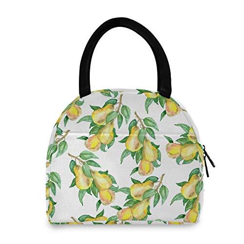 Bolsa de almuerzo reutilizable para mujer con diseño de ramas de pera y frutas