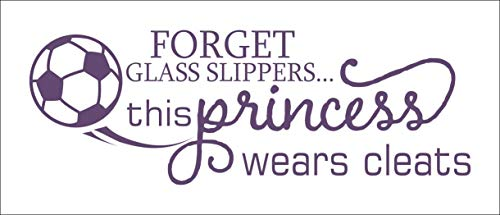 Soccer Wall Decals for Girls This Princess Wears Cleats Art Decor Quote 23x8-Inch Plum
