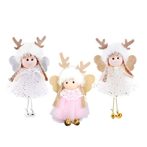3 Pieces Christmas Elk Angel Doll Pendant Decoration Tree Hanging Ornaments Christmas Crafts Elves Decorations with Small Bell (Angel-Elk)