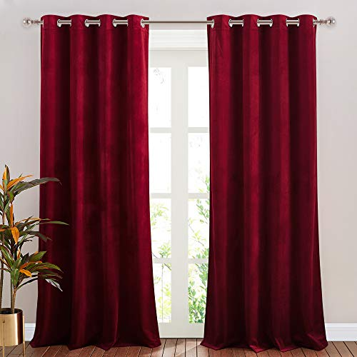 NICETOWN Red Velvet Curtains, Solid Heavy Matt Drapes/Window Treatments with Grommet Top for Patio Door (Set of 2, W52xL96 inches)