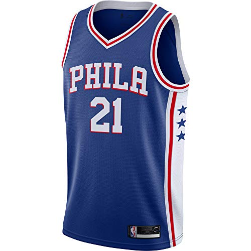 Joel Emiid Philadelphia 76ers #21 Official Youth 8-20 Swingman Jersey (Medium 10/12, Joel Embiid Philadelphia 76ers Blue Icon Edition)