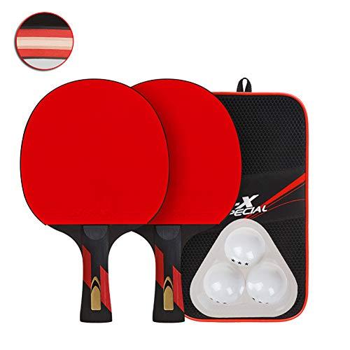 Tischtennisschläger, Tischtennisschläger set Butterfly tischtennisschläger Professionelles 7-lagiges Holz Basswood Poplar Doppelseitiger Gummi mit 2 Schlägern und 3 Bällen Langer Griff,Longhandle