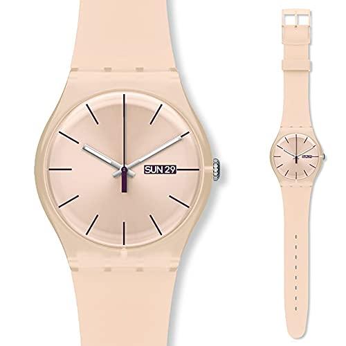 Relojes para hombre ultrafinos y minimalistas impermeables, reloj de pulsera unisex con banda de malla de acero inoxidable (color de esfera grande nude)