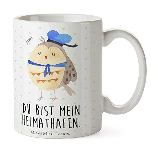 Mr. & Mrs. Panda Büro, Kaffeebecher, Tasse Eule Matrosen mit Spruch - Farbe Weiß