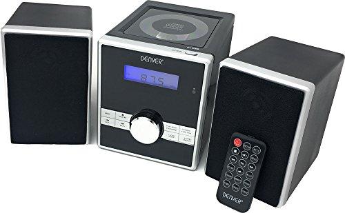 Denver MCA-230 Micro Soundsystem mit PLL-FM Radio, CD-Player und AUX-In, Schwarz/Silber