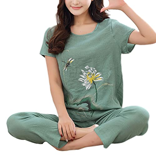 YO-HAPPY, Conjunto de Pijamas de Talla Grande de Verano para Mujer, Loto Chino, Estampado Floral, Camisetas de Manga Corta, Pantalones Capri, Ropa de Dormir Suelta, Ropa de Dormir XL-4XL