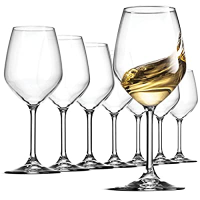 Bormioli Rocco Italian White Wine Glasses 14 Ounce Crystal Clear, Laser Cut Rim For Wine Tasting, Lead-Free Wine Cups, Elegant Party Drinking Glassware, Dishwasher Safe, Restaurant Quality