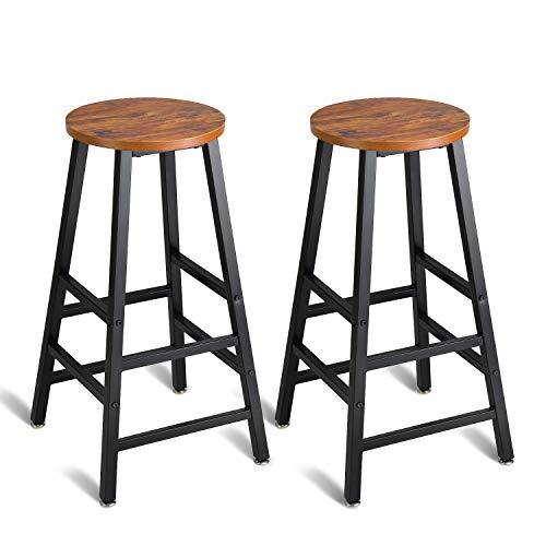 Mr IRONSTONE Pub Height Bar Stools Set of 2, Rustic Brown Bar Stool, 27.7' Pub Dining Height Stools...