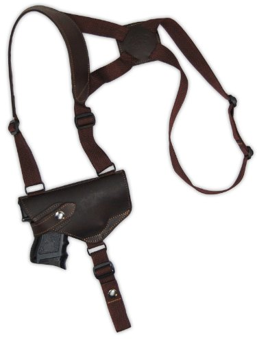 Barsony Brown Leather Cross Harness Shoulder Holster for S&W 4013 4014 4053 Left