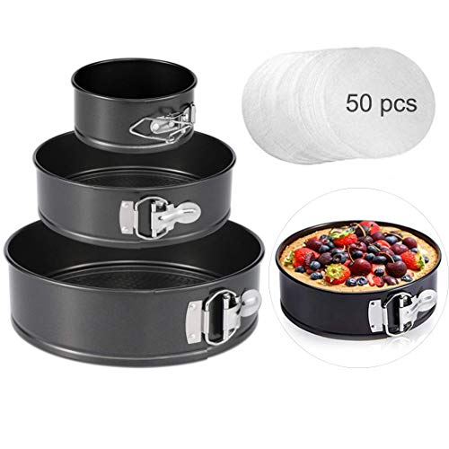 Springform Cake Pan set, 4'/7'/9' Non-stick Cheesecake Pan, Leakproof Round Cake Pan,Removable Bottom Quick Release Latch moulds for birthday cake,3 PCS,Gift free 50 Pcs Cake Paper