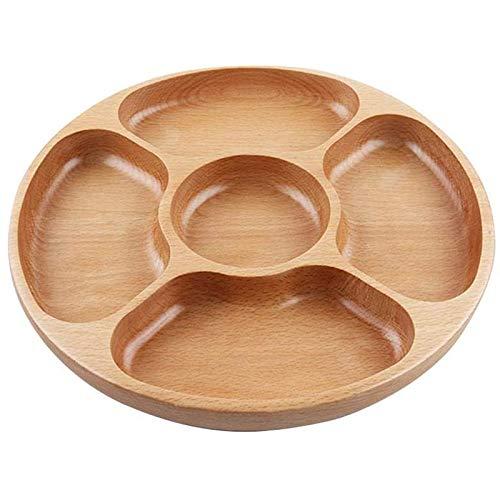 Kaxofang Plato para Servir Aperitivos de Madera, 5 Compartimentos para el Hogar Plato de Fruta Seca para Aperitivos Bandeja de Dulces - Bandeja Redonda para Platos de Aperitivos