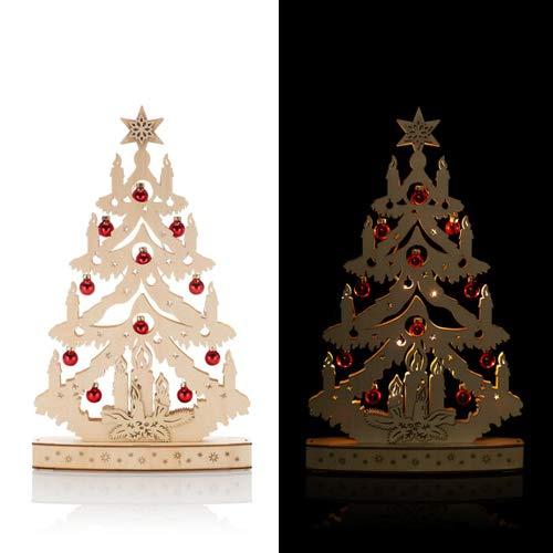 OF Weihnachtsbaum aus Holz fertig dekoriert, mit LED beleuchtet und Timer - Weihnachten, Dekoration (Rot)