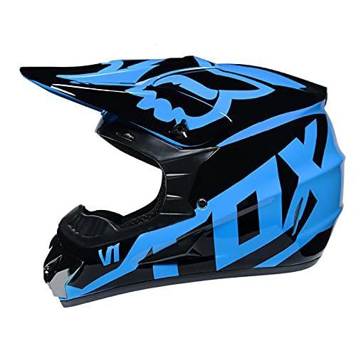 IDWX Casco De Motocross, Pareja Masculina Y Femenina, Locomotora Cuesta Abajo De MontañA, Casco Completo De Carreras De Carretera Forestal, S-XL, Negro Y Azul