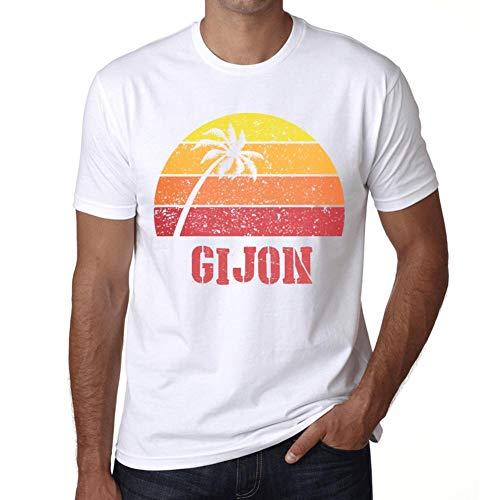 Hombre Camiseta Vintage T-Shirt Gráfico GIJON Sunset Blanco