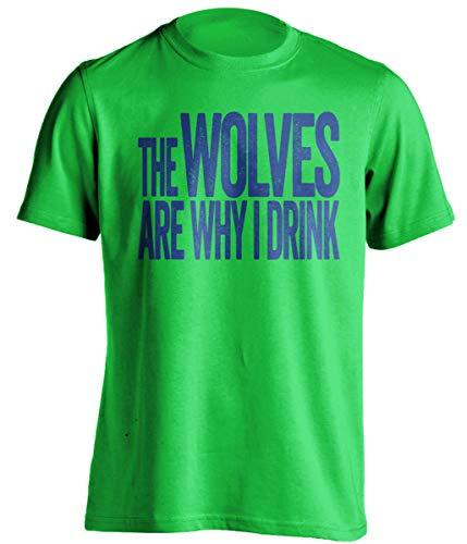 """Camiseta divertida con texto en inglés """"The Wolves are Why I Drink """", versión azul marino y lima"""