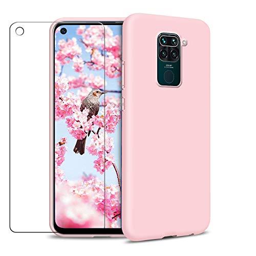 SAMCASE Funda Xiaomi Redmi Note 9 + Protector de Pantalla de Vidrio Templado, Carcasa Ultra Fino Suave Flexible Silicona Protectora Caso Anti-rasguños Back Case - Rosa Claro