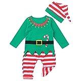 IEFIEL Disfraz Elfo Elfa para Bebé Unisex pelele de Duende Navidad Bodies Pijama Camisa Manga Larga Pantalones y Sombrero ropa niño Conjuntos de Fiesta Navidad Verde 12-18 meses
