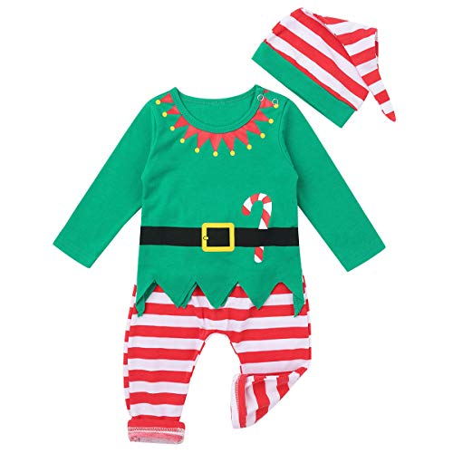 TiaoBug Baby Boys Girls 1st Christmas Outfits Santa Claus Elf Costumes Long Sleeves Tops with Striped Leggings Hat Set Green 3-6 Months