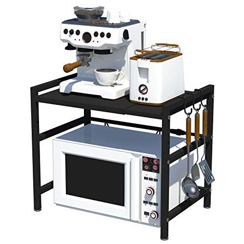 CM67 Horno de microondas de acero al carbono, 2 capas, estantes para microondas, capacidad de peso de 77 kg, organizador para encimeras de cocina con 3 ganchos