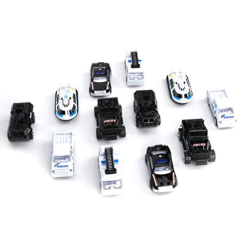 Gaeirt Juguete Modelo de vehículo, Juguetes de ingeniería para automóviles, para Jugar para niños Mayores de 3 años(Police Car Suit)