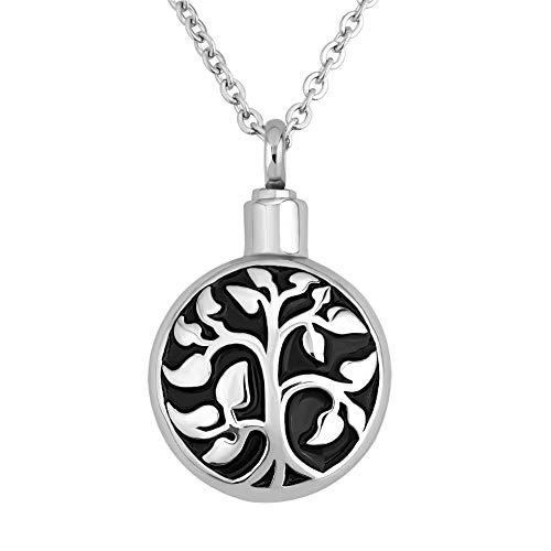 Lifequeen Jewellery Collar de urna conmemorativa del árbol de la vida familiar para cenizas y collares de cremación