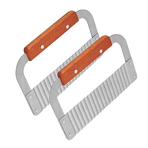 YAKA 2 Pack Crinkle Cutters Crinkle Cutting Tool French Fry Slicer Stainless Steel Blade Wooden Handle Vegetable Salad cucumbers and carrots Chopping Knife