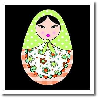3dRose Cute Russian Matryoshka Nesting Doll Black Hair-Warm Colors Black-Iron on Heat Transfer, 6 by 6