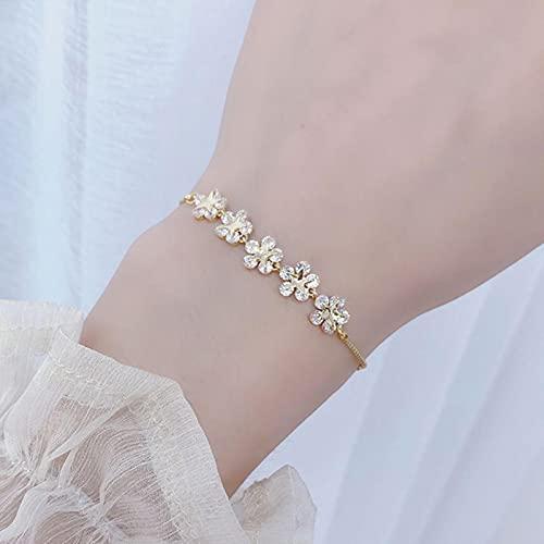 SONGK Pulsera de Flores de circonita de Lujo para Mujer, Bonitas Pulseras románticas de Oro Real de 14 K con CZ para Mujer, Cadena Diaria