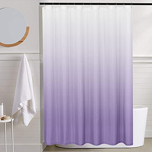 Ombre Fabric Shower Curtain Purple Shower Curtains for Bathroom Waterproof Gradual Color Design Lilac Shower Curtain Set with Hooks Included 72 inch Long One Panel